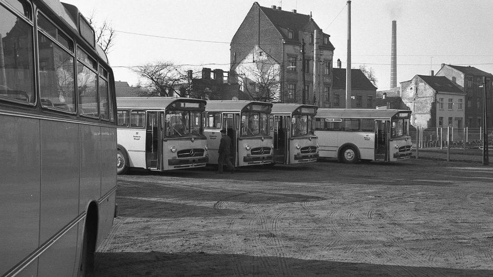 Frisch angeliefert stehen einige M-B O 317 auf dem Rheydter Betriebshof bereit, um Ende Januar 1959 die Straßenbahn abzulösen (Foto: DSR)